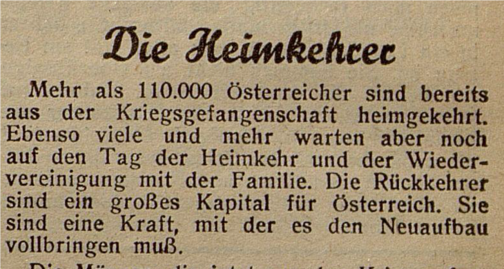 """The Returnees"", Salzburger Tagblatt, 18.01.1946."