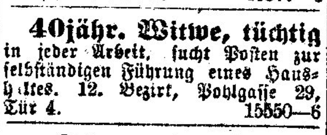 Figure 3: Ad of a widow in Neue Freie Presse (23/02/1918, p. 17)
