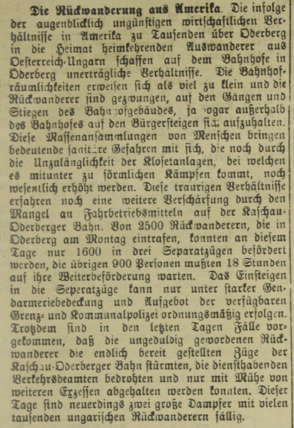 Figure 4: The Return Migration from America, Mährisch-Schlesische Presse, 07.12.1907